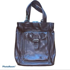 Levenger Brown Leather Tote Bag Briefcase